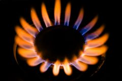 Gas Burner. Gas Fire With Red And Blue Flames Royalty Free Stock Photography