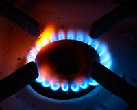 The gas burner. The close up gas burner on a background stock photography