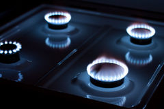 Gas burner. In the kitchen oven stock photos