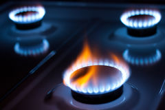 Gas burner. In the kitchen oven royalty free stock image