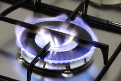 Gas burner. The flame of gas burner Royalty Free Stock Photography