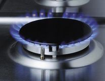 Gas burner. A flame on the gas burner Royalty Free Stock Photos