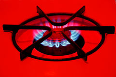 Gas burner. Blue flames royalty free stock photos
