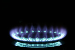 Gas Burner. Blue gas flame on stove stock images