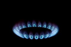 Gas burner with blue flames Stock Photography