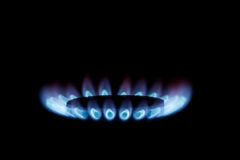 Gas burner with blue flames Stock Photos