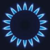 Gas burner. Blue flames ring of kitchen gas burner. EPS-10 stock illustration