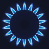 Gas burner. Blue flames ring of kitchen gas burner. EPS-10 Royalty Free Stock Photos
