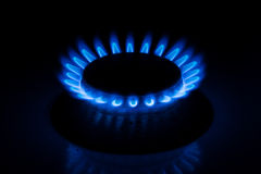 Gas burner with fire on black background Stock Photos