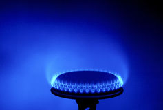Gas burner with fire stock image