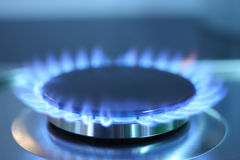 Gas Burner Flame. On domestic kitchen range royalty free stock photos