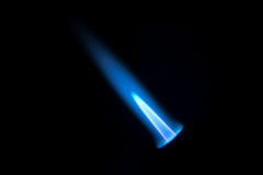 Gas burner flame. Blue fire isolated on black backgroung, close-up stock image