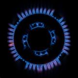 Gas Burner Flame Top View. Domestic natural gas circular burner hob Royalty Free Stock Images