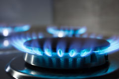 Gas burner flame at gas stove Royalty Free Stock Images
