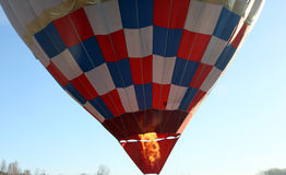 The gas burner flame under the air balloon before the start Stock Photography