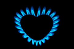 Gas burner. In the form of heart, hot heart concept royalty free stock images