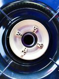Gas burner on the kitchen stove,. Top view stock image