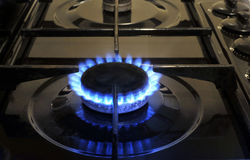 Gas. Burner ring on a home oven hob Royalty Free Stock Image