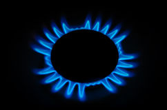 Gas burner on the stove. Gas burner on the stove, burning blue flame on a black background Royalty Free Stock Photo