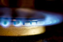 Gas burner on stove. Gas burner on the stove of the house stock image
