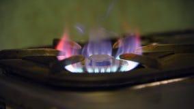 Gas Burner On Stove. Turn on Gas Burner On Stove stock footage