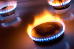 Gas burner with yellow flame Royalty Free Stock Images