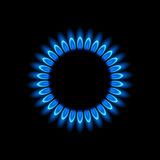 Gas burners, blue flame. Vector background Royalty Free Stock Photo