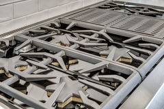 Gas Burners and Grill in Luxury Kitchen Stock Images