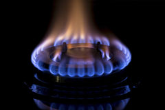 Gas burners lit Royalty Free Stock Photo