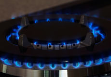 Gas burners lit. Gas burner is lit on the kitchen Royalty Free Stock Photos