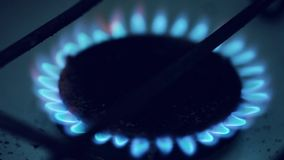 Gas burning by a dark blue flame on kitchen stock video