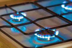 Gas burning from a kitchen gas stove Stock Images