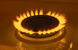 Gas burning from a kitchen gas stove royalty free stock images