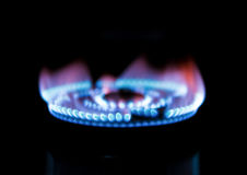 Gas burning from a kitchen gas stove Royalty Free Stock Photos