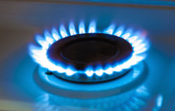 Gas burning from a kitchen gas stove Stock Image