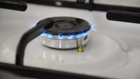 Gas burning from a kitchen gas stock footage