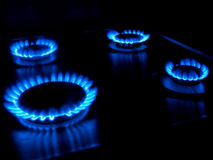 Gas burning from a kitchen gas stove Stock Photos