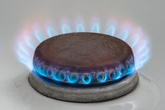 Gas burning on the kitchen gas stove Royalty Free Stock Images