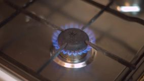 Gas burning from a stove stock footage