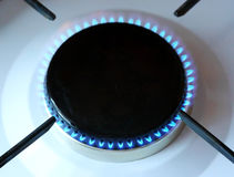 Gas burns in gas stove Royalty Free Stock Images
