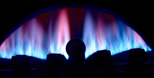Gas burrner. From gas water heater Royalty Free Stock Photos