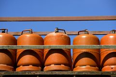 Gas butano color Naranja. Orange Gas Racks Stock Photo