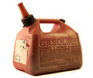 Gas Can. An old weathered gasoline container isolated on a white background Royalty Free Stock Photos