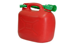 Gas can. Red gas can isolated on white background stock photography