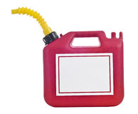 Gas Can With Blank Sign 2. A red gas can with a yellow nozzle has a blank sign on the side stock images