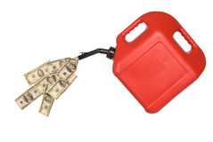 Gas can and cash pouring. Gas can pouring out hundreds of dollars to mirror the high costs of gasoline stock images