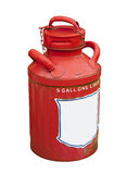 Gas can, isolated. Antique 5 gallon gasoline can in red with white blank label stock images