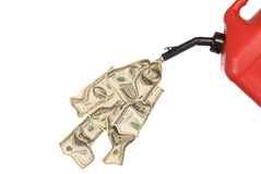 Gas can pouring money. Gas can pouring out hundreds of dollars to mirror the high costs of gasoline royalty free stock photography