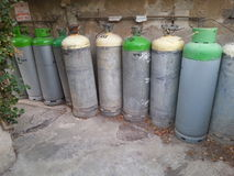 Gas Cannister row. A row of cooking gas cylinders Stock Photo