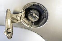 Gas cap on an automobile Stock Photos